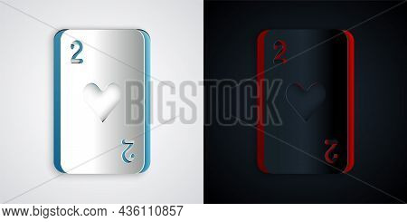 Paper Cut Playing Card With Heart Symbol Icon Isolated On Grey And Black Background. Casino Gambling