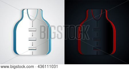 Paper Cut Life Jacket Icon Isolated On Grey And Black Background. Life Vest Icon. Extreme Sport. Spo