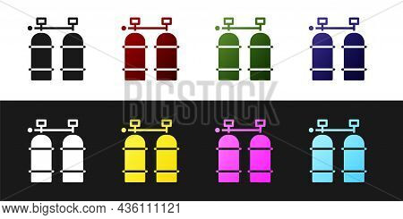 Set Aqualung Icon Isolated On Black And White Background. Oxygen Tank For Diver. Diving Equipment. E