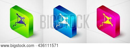 Isometric Kite Icon Isolated On Grey Background. Square Button. Vector