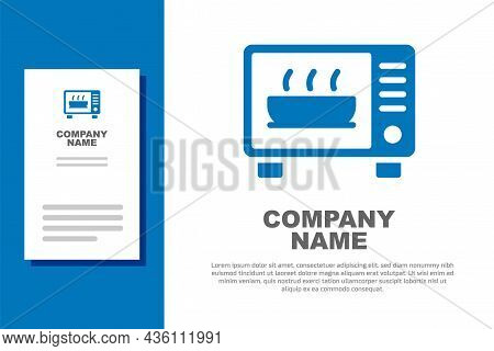 Blue Microwave Oven Icon Isolated On White Background. Home Appliances Icon. Logo Design Template El