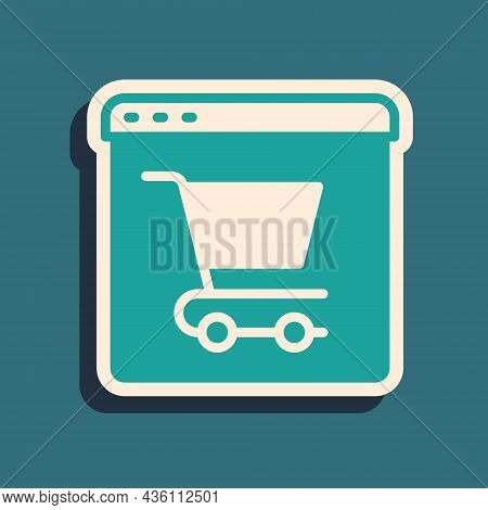 Green Online Shopping On Screen Icon Isolated On Green Background. Concept E-commerce, E-business, O