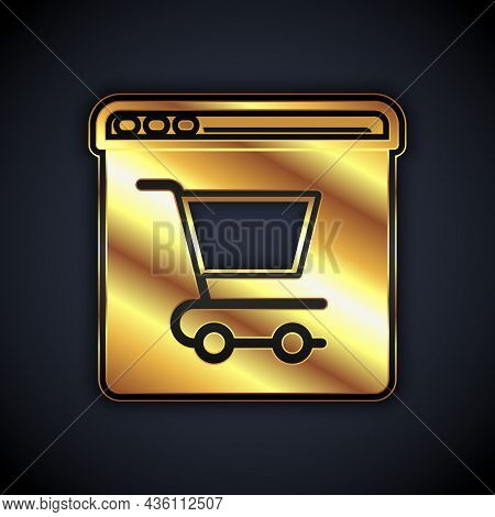 Gold Online Shopping On Screen Icon Isolated On Black Background. Concept E-commerce, E-business, On