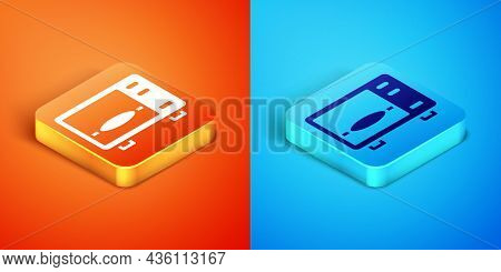 Isometric Microwave Oven Icon Isolated On Orange And Blue Background. Home Appliances Icon. Vector