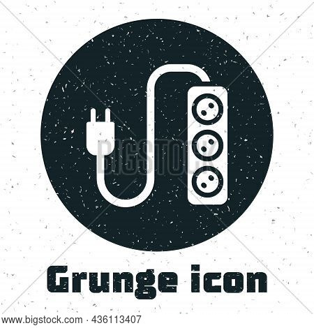 Grunge Electric Extension Cord Icon Isolated On White Background. Power Plug Socket. Monochrome Vint