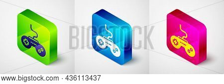 Isometric Gamepad Icon Isolated On Grey Background. Game Controller. Square Button. Vector