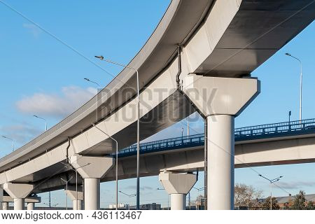 Automobile Overpass On Concrete Supports. New Road Infrastructure. Preventing Traffic Jams