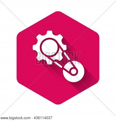 White Timing Belt Kit Icon Isolated With Long Shadow Background. Pink Hexagon Button. Vector
