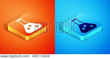Isometric Test Tube And Flask Chemical Laboratory Test Icon Isolated On Orange And Blue Background.