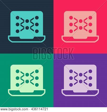 Pop Art Neural Network Icon Isolated On Color Background. Artificial Intelligence Ai. Vector
