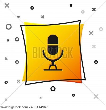 Black Microphone Voice Device Icon Isolated On White Background. Microphone Interpreter And Alphabet