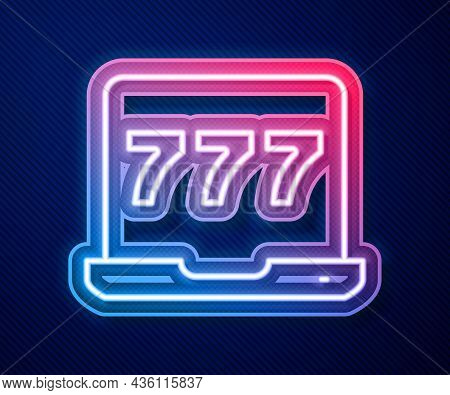 Glowing Neon Line Laptop And Slot Machine With Lucky Sevens Jackpot Icon Isolated On Blue Background