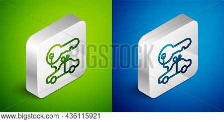 Isometric Line Car Gift Icon Isolated On Green And Blue Background. Car Key Prize. Silver Square But