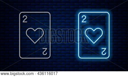 Glowing Neon Line Playing Card With Heart Symbol Icon Isolated On Brick Wall Background. Casino Gamb