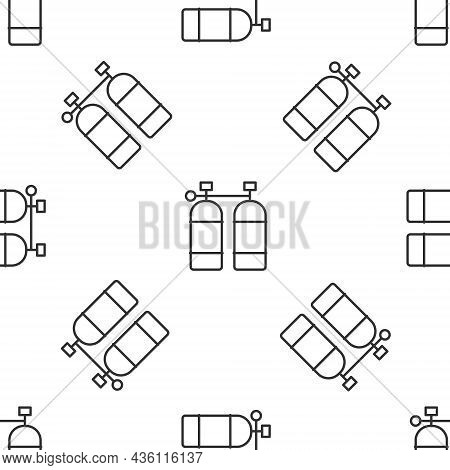 Grey Line Aqualung Icon Isolated Seamless Pattern On White Background. Oxygen Tank For Diver. Diving