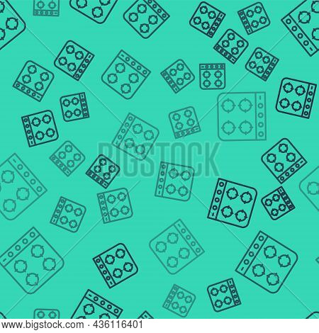 Black Line Gas Stove Icon Isolated Seamless Pattern On Green Background. Cooktop Sign. Hob With Four