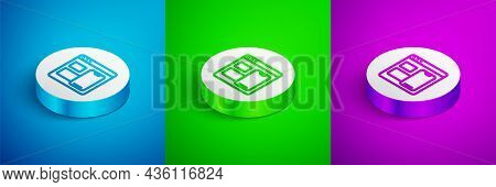 Isometric Line Software, Web Developer Programming Code Icon Isolated On Blue, Green And Purple Back