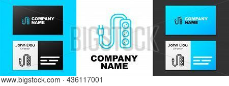 Blue Line Electric Extension Cord Icon Isolated On White Background. Power Plug Socket. Logo Design