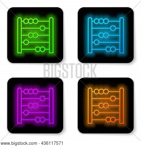 Glowing Neon Line Abacus Icon Isolated On White Background. Traditional Counting Frame. Education Si