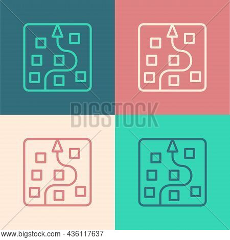 Pop Art Line Neural Network Icon Isolated On Color Background. Artificial Intelligence Ai. Vector