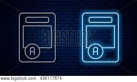 Glowing Neon Line Exam Sheet With A Plus Grade Icon Isolated On Brick Wall Background. Test Paper, E