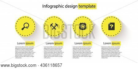 Set Unknown Search, Two Crossed Hammers, Police Badge And Document. Business Infographic Template. V
