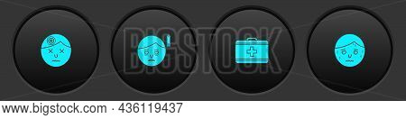 Set Man Having Headache, Fatigue, First Aid Kit And With Excessive Sweating Icon. Vector