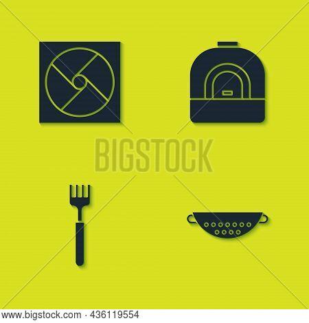 Set Ventilation, Kitchen Colander, Fork And Oven Icon. Vector