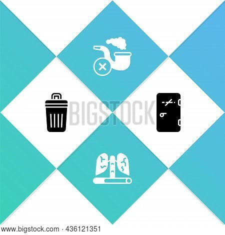Set Trash Can, Disease Lungs, Smoking Pipe With Smoke And No Smoking Area Icon. Vector