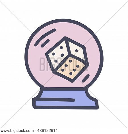 Crystal Ball Dice Color Vector Doodle Simple Icon