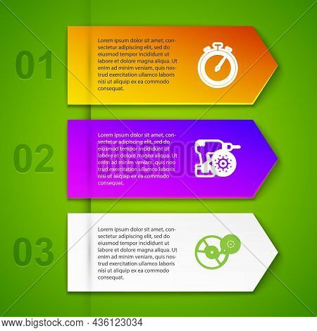 Set Line Stopwatch, Drill Machine Setting, Cd Or Dvd Disk And Gamepad. Business Infographic Template