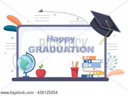 Online Virtual Graduation Day Of Students Celebrating Background Vector Illustration Wearing Academi
