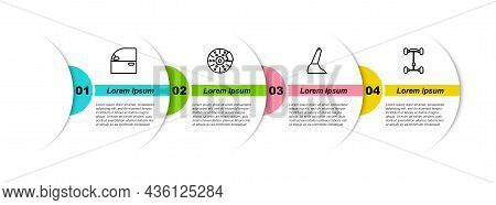 Set Line Car Door, Brake Disk With Caliper, Handbrake And Chassis Car. Business Infographic Template
