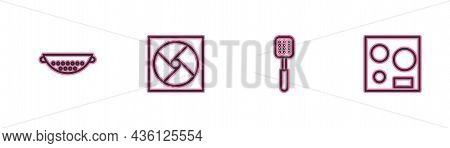 Set Line Kitchen Colander, Spatula, Ventilation And Electric Stove Icon. Vector