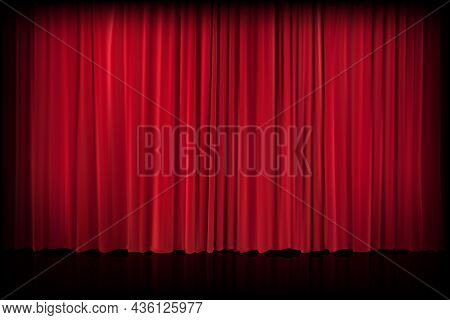 Red Velvet Curtain In Theater Or Cinema. Vector Background With Closed Stage Curtains With Drapery,