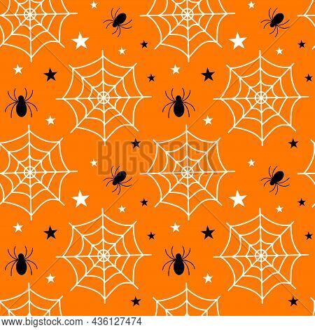 Flat Vector Illustration. Halloween Seamless Pattern With Cobwebs, Spiders. Use For Internet, Notepa