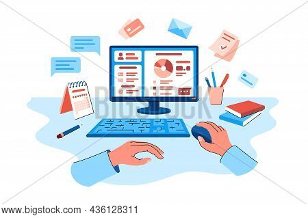 Person Explore Online Banking On Pc Vector Illustration. Screen With Open Personal Account Flat Styl