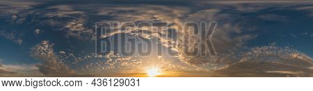 Golden Sunset Sky Pano With Cumulus Clouds. Seamless Hdr Panorama In Spherical Equirectangular Forma