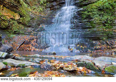 Wonderful Waterfall On The Mountain River Carpathians. Sopit Waterfall, Beskydy National Park, Ukrai