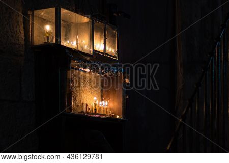 Hanukkah Candles Are Lit At The Entrance To A Building In The Jewish Quarter Of Jerusalem