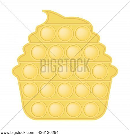 Pop It A Fashionable Silicon Toy Yellow Cake For Fidgets. Addictive Cupcake Toy In Pastel Colors. Bu