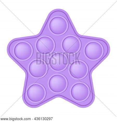 Popit A Fashionable Silicon Purple Star Fidget Toy. Addictive Anti-stress Star Toy In Pastel Colors.