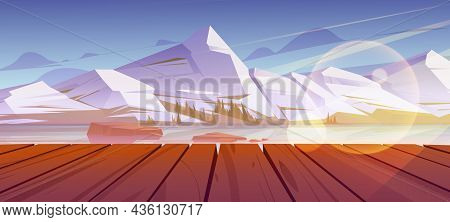 Mountains Pond Or Lake Nature Landscape, Scenery View From Wooden Pier. Tranquil Background White Sn