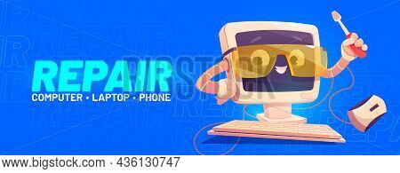 Repair Banner With Cute Computer Character With Screwdriver. Vector Landing Page Of Fix And Maintena