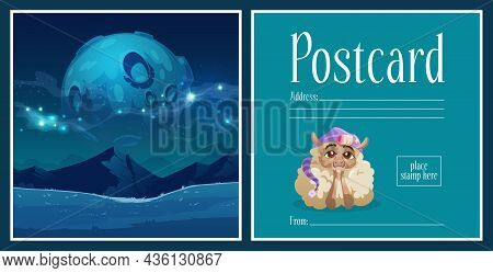 Postcard With Lamb Wear Sleeping Hat At Night Landscape With Full Moon In Starry Sky. Cartoon Postal
