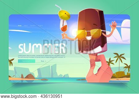 Summer Ice Cream Cartoon Landing Page, Hand Holding Funny Popsicle Character Wear Sunglasses And Dri