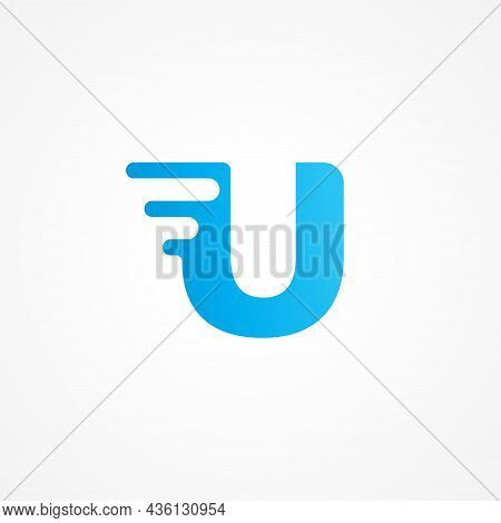 Letter U Streaking With Fluid Effect. Initial Alphabet Logo Design Template Suitable For Kids Produc