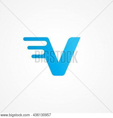Vector Illustration Of Letter V Streaking With Fluid Effect. Initial Alphabet Logo Design Template S