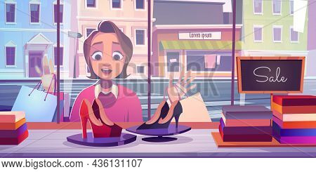 Woman At Store Window, Excited Young Lady Stand With Open Mouth At Shop Showcase Admire Fashioned Sh
