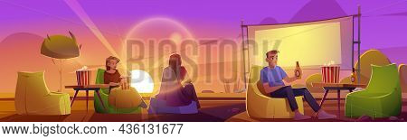 People Rest In Open Air Cinema On Lawn With Big Screen, Chairs And Tables At Evening. Vector Cartoon